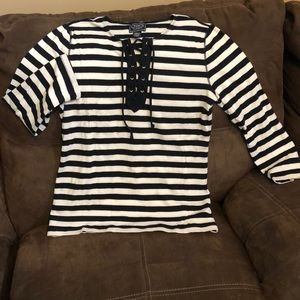Chaps casual long sleeve top navy and white